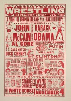 American Presidential Wrestling Heavyweight Championship Poster: By Yee-Haw Industries. inked, and pulled by hand. Wrestling Posters, Boxing Posters, Sports Posters, Sports Brands, Design Poster, Graphic Design, Retro Design, Flyer Design, Web Design