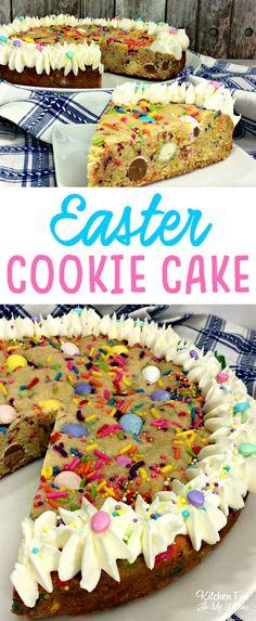 Easter Cookie Cake with cadbury eggs, M&M and festive Easter sprinkles. #easter #dessert #eastertreat #sprinkles #cookiecake
