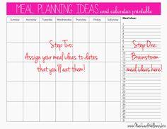 meal planning calendar | meal planning | Pinterest | Meal planning ...