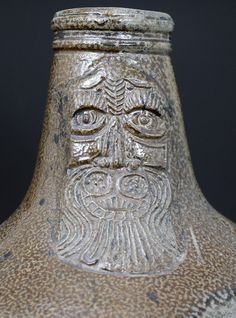 Antique over sized tiger glaze stoneware Bellarmine 17th century Germany