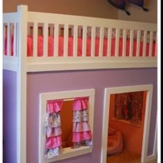 Loft bed with playhouse- so fun!