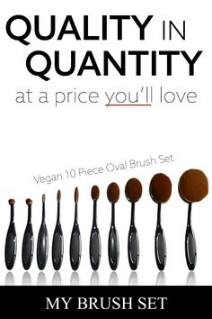 10 Piece Black Oval Brush Set – Contouring and Highlighting Make Makeup, Skin Makeup, Makeup Brushes, Makeup Tips, Beauty Makeup, Nyx Brushes, Contouring Makeup, Oval Brush Set, Brush Sets