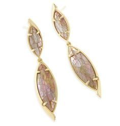 Maisey Earrings Crackle Brown Mother of Pearl