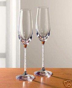 Swarovski Champagne Flutes! I want these