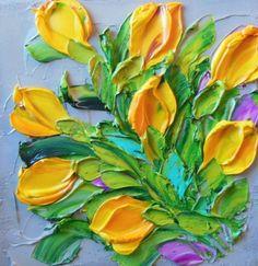 Yellow Tulips Original Wall Decor Small Impasto oil Painting
