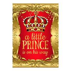 Little Prince On His Way Baby Shower Gold Red