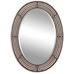 Uttermost 'Matney' Distressed Bronze Oval Wall Mirror (€175) ❤ liked on Polyvore featuring home, home decor, mirrors, brown, oval wall mirror, antiqued wall mirror, distressed wall mirrors, distressed mirror and vertical mirror