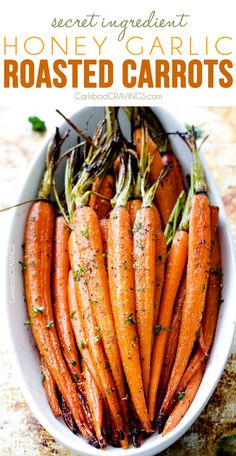 Tender, sweet and savory Secret Ingredient Honey Garlic Roasted Carrots are the most delicious carrots and easiest side dish EVER with only 10 minutes prep! I eat these like candy!