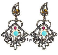 Vintage Victorian 5.34cts Rose Cut Diamond Ruby Turquoise Silver Earring Dangler #realbeautyofwoman