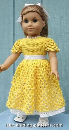 Crochet American doll princess dress