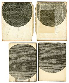 Kate Castelli woodblock prints on 19th century bookcovers.