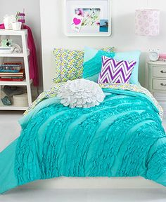 Teen Vogue Bedding, Ella Teal Ruffle Comforter Sets - Teen Bedding - Bed & Bath - Macy's