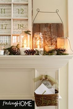 Finding Home Christmas Mantel Evergreens and rustic sign