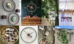 algunas ideas creativas hechas con ruedas de bicicleta... Si sabemos utilizar estas piezas pueden convertirse incluso en mucho más que un mueble o accesorio de diseño salido de tienda de decoración y lo mejor de todo es que a un costo bajísimo y hecho con nuestras propias manos.