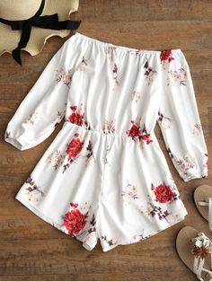 Off Shoulder Floral Print Romper. This casual romper with elastic waist features beautiful blooming flower pattern, an elastic off the shoulder collarline and long sleeves. Pair it with boots for a trendy look. #zaful #romper