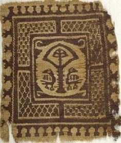 Coptic. Textile, 6th century C.E. Flax, wool, 7 x 8 in. (17.8 x 20.3 cm). Brooklyn Museum.
