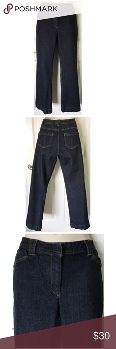 """NICE Nautica Indigo Blue Wash Straight Leg Jeans,6 This is a nice pair of Nautica Straight Leg Jeans!  They have only been worn a couple times and are in excellent, nearly new condition!  These has have a straight leg with cuff stitching detail and are a washed medium/dark indigo color.  Size 6 with a 30"""" waist, 36"""" hips and a 30"""" inseam. Nautica Jeans Straight Leg"""