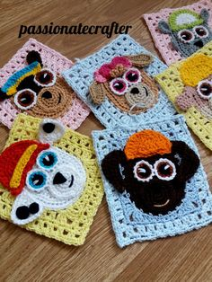 Paw patrol granny square.Crochet granny squares baby blanket, crochet bag or crochet pillow .All paw patrol crew crochet granny square