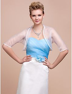 Wedding++Wraps+Coats/Jackets+3/4-Length+Sleeve+Organza+White+Party/Evening+Open+Front+–+USD+$+17.99