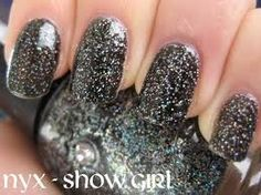 black long sparkle nails
