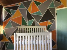 This is my new nursery! I love the way it turned out! Thanks to my aunt Neta for making it happen! Tape Wall, Triangle Wall, Infant Room, Paint Samples, Bay City, Room Paint, Nurseries, Paint Ideas, Aunt