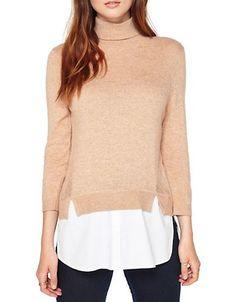 Miss Selfridge 2-in-1 Turtleneck Shirt, beige white $60 | Lord & Taylor