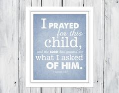 Bible Verse Nursery Print 1 Samuel 1:27 Christian Art on Etsy, $7.00