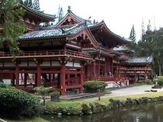 Byodo Temple in a Japanese garden in Oahu, Hawaii has beautiful structures and landscapes.