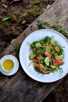 Smoked Salmon, Avocado and Arugula Salad