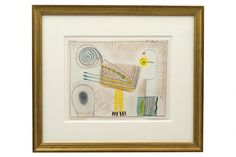 Abstract crayon drawing of bird by Michel Debieve (1931- ).  France, 1966