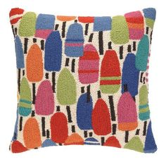 Buoy Brights Wool Hooked Pillow