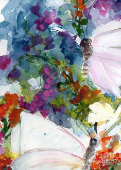 Abstract Wildflowers and Butterflies Painting  - Abstract Wildflowers and Butterflies Fine Art Print