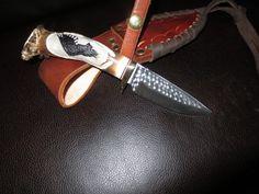 """Hunting Knife Ken Richardson CUSTOM MADE N USA CARVED Eagle   4"""" DROP BLADE #KenRichardsonKnives"""