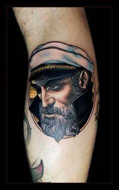 Captain Tattoo by Daniel Gensch at Bläckfisk Tattoo Co. in Berlin, Germany