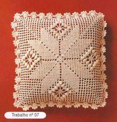 Cushion pillow in crochet Crochet Pillow Cases, Crochet Cushion Cover, Crochet Cushions, Crochet Quilt, Crochet Blocks, Crochet Chart, Crochet Afghans, Crochet Squares, Crochet Home