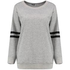 Rose Baseball Stripe Oversized Sweat (€2,56) ❤ liked on Polyvore featuring tops, hoodies, sweatshirts, sweaters, striped top, baseball top, oversized tops, striped sweatshirt and baseball sweatshirts
