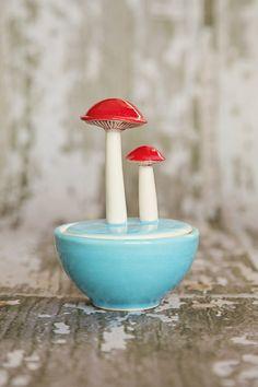 Mushroom Salt Cellar Sky Blue от lbegley на Etsy