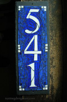 Mosaic House Number 541 by Nutmeg Designs in Blue and White