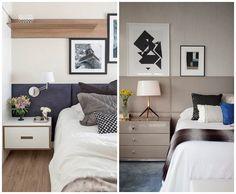 cabeceira estofada quarto casal decoracao moderna quadros