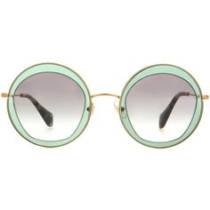 Miu Miu Round Sunglasses (3.438.015 IDR) ❤ liked on Polyvore featuring accessories, eyewear, sunglasses, glasses, green, óculos, miu miu, round frame sunglasses, round frame glasses and green sunglasses