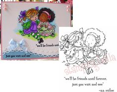 CATCHING UP Cling Rubber Stamp MO146 Stamping Bella Stamps Friends Tea words #StampingBella #Image