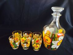 Cordial Decanter w/ 6 Cordial Glasses with Floral Pattern France 1960s