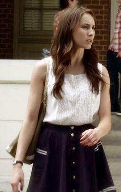 Spencer Hastings-white shirt and navy skater skirt
