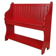 Chapel style wood bench- perfect for entryway!