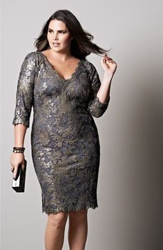 Tadashi Shoji Sequin Lace Sheath Dress (Plus Size) | Nordstrom #plussizedresses