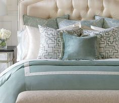 The soft aqua and cream colors create a calming ambience, making this collection an exceptional addition to any bedroom.