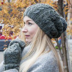 Купить Большая шапка из твида и варежки - бордовый, шапка, шапка вязаная, шапка женская