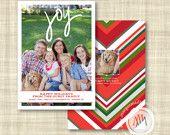 Big Joy Chevron Pattern Custom Holiday Photo Card Margot Madison