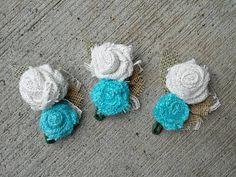 Burlap Wedding Corsages  #blue #burlap #wedding #bride