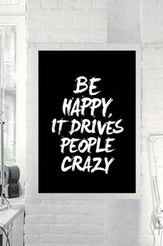 """Black and White Inspirational Wall Art """"Happy"""" by TheMotivatedType @Etsy Motivational Print, Home Decor, Monochrome, Happiness https://www.etsy.com/shop/TheMotivatedType"""